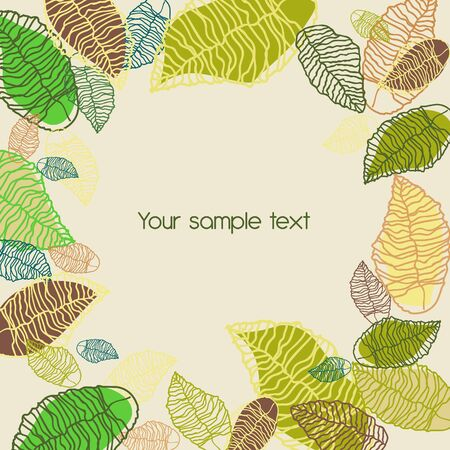 Abstract light background with green hand drawn leafs Vector