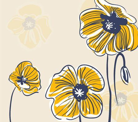 Abstract bight vector background with drawing flowers Vector