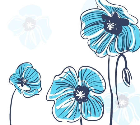Abstract elegance vector background with blue flowers Vector