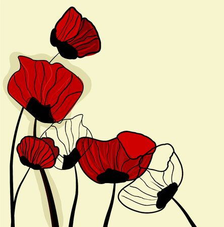 poppy field: Abstract brown vector background with drawing red popies
