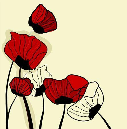 poppy field: Fondo de vector de resumen marr�n con un dibujo rojo popies Vectores