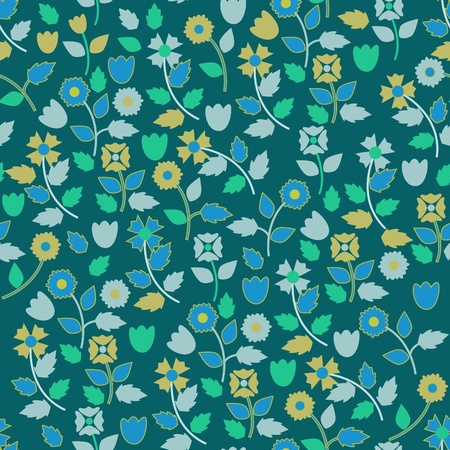 small plant: Blue seamless vector wallpaper with small flowers