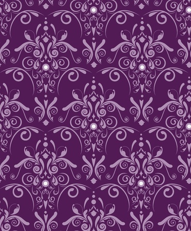 Abstract seamless violet vector texture with damask pattern Vector