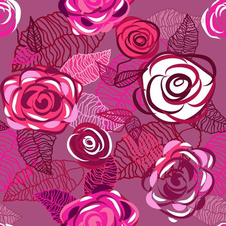 Abstract seamless  vector texture with pink drawing roses Vector