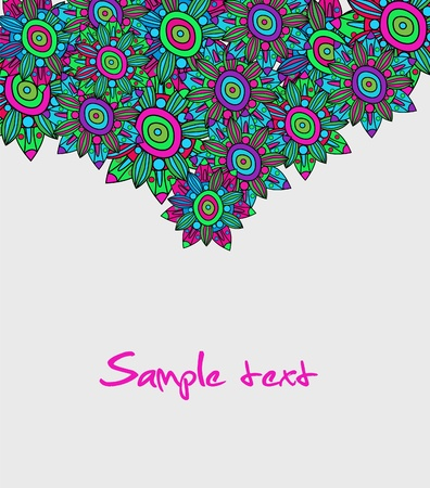 Abstract vector dark background with multicolor floral pattern Vector