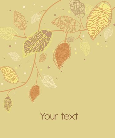 abstract beige background with drawing plants and leafs Vector