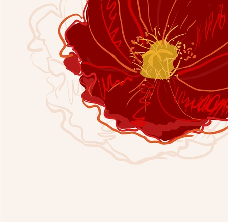 beautiful red hibiscus flower: Abstract elegance vector background with red flower
