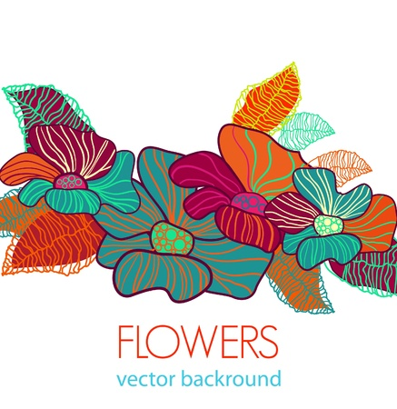 Abstract light vector background with bright flowers Stock Vector - 9765158