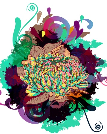abstract bright vector illustration with drawing flower Vector