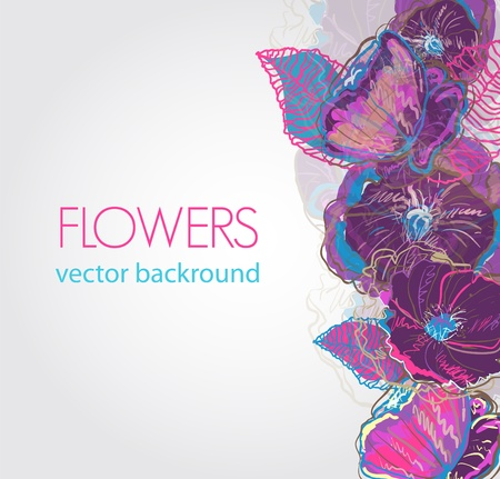 purple lilac: abstract vector background with watercolor flowers Illustration
