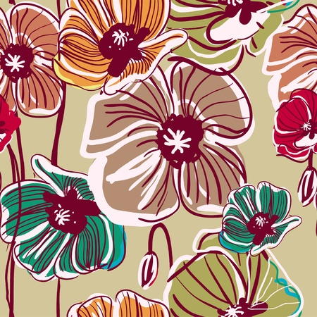 Abstract lightvector  background with drawing multicolor poppy Vector