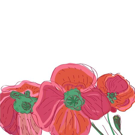 Drawing vector illustration with pink flowers Stock Vector - 9765133