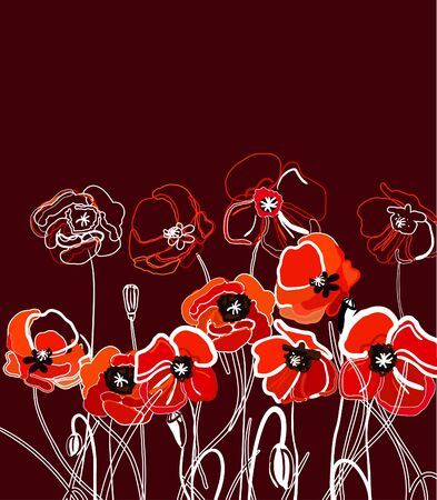 Drawing vector illustration with red poppy Stock Vector - 9765177