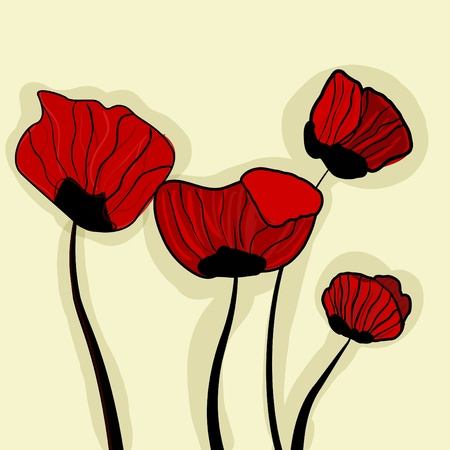 Abstract bight vector background with red poppies Vector