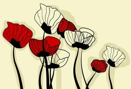 poppy field: Fondo de vector con amapolas de dibujo