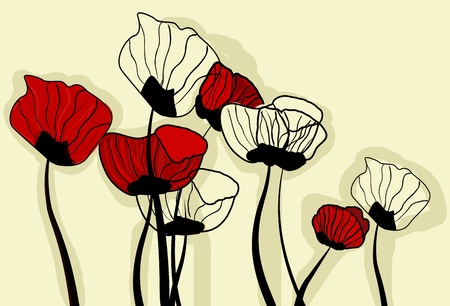 poppy field: Vector background with drawing poppies Illustration