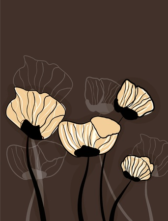 Abstract brown vector background with drawing popies Vector