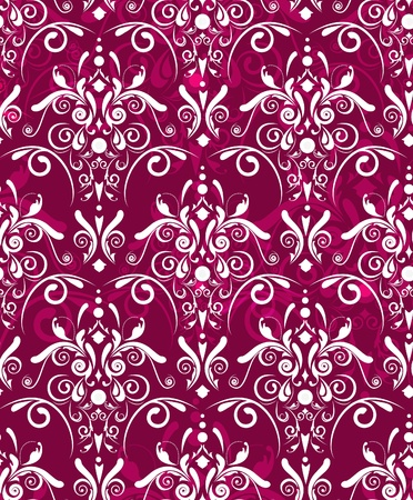 fuchsia flower: Abstract seamless dark red vector texture with white damask pattern