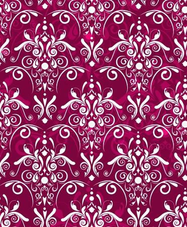 flores fucsia: Textura abstracta vector rojo oscuro transparente con patr�n de Damasco blanco
