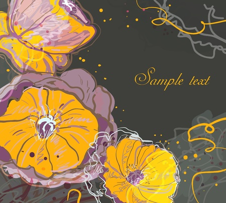 Abstract watercolor vector background with drawing flowers Vector