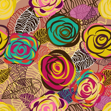brillante: Trama astratta seamless vector lilla con brillante disegno Rose Vettoriali