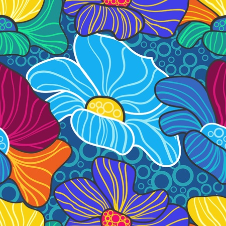 Abstract vector seamless texture with bright drawing flowers