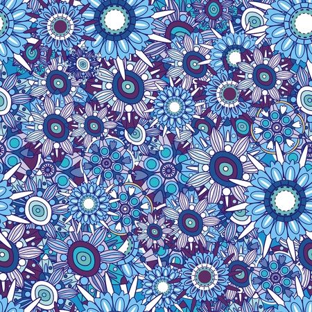 hippy: Abstract elegance vector background with blue flower Illustration