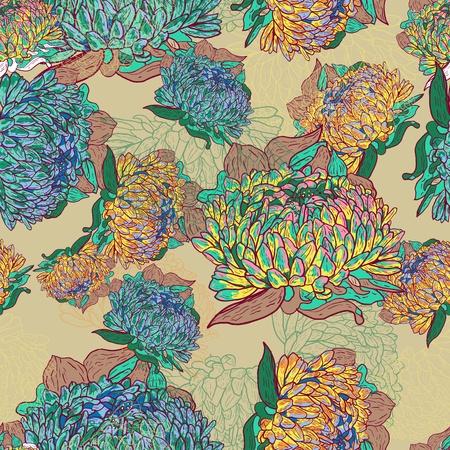 canvas print: Patr�n brillante Abstract vector transparente con flores multicolores