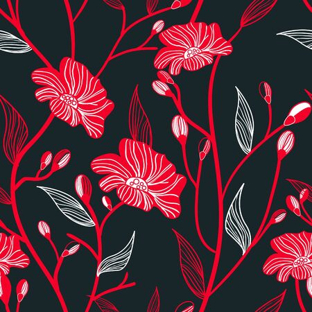 Abstract seamless vector dark pattern with red flowers Vector