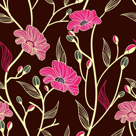 floral print: Abstract seamless vector dark pattern with pink flowers