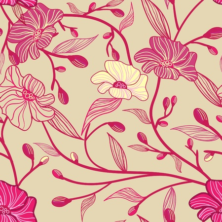 rd: Abstract seamless vector light pattern with  pink flowers