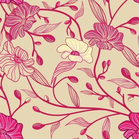 rd: Estratto seamless luce modello vettoriale con fiori rosa
