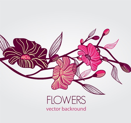 Abstract blue vector  background with drawing flowers Vector