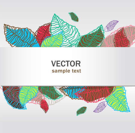 abstract vector floral banners set with bright leaves Stock Vector - 9765331