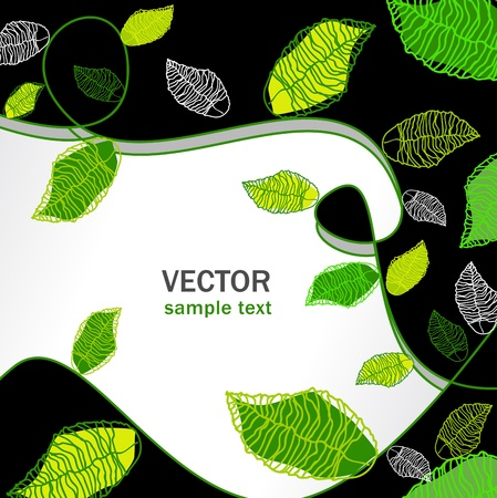 abstract vector floral background set with green leaves Vector