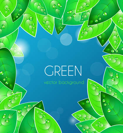 Abstract blue vector  background with green leafs Vector
