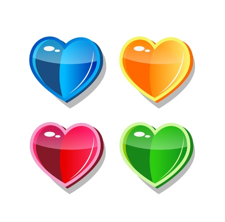shiny hearts: Four multicolor glass vector hearts icon for web
