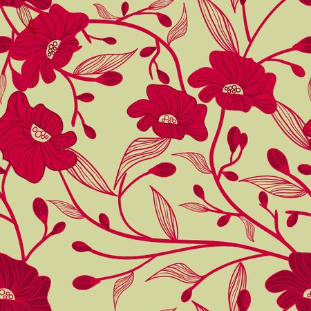 Abstract red vector  background with drawing flowers Vector