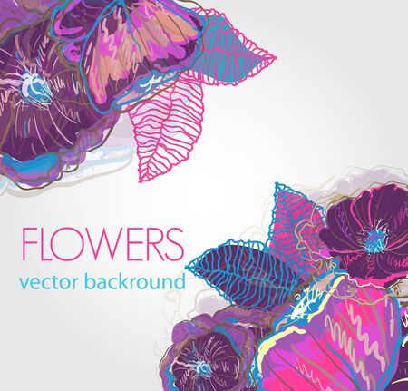 abstract floral multicolor background with bright leafs and flowers Stock Vector - 9841535