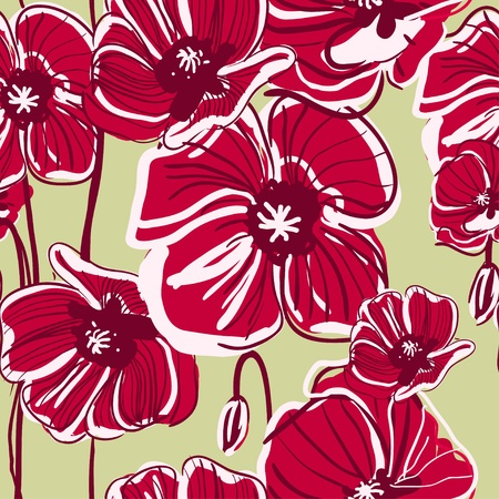 canvas print: Abstract red vector  background with drawing flowers Illustration