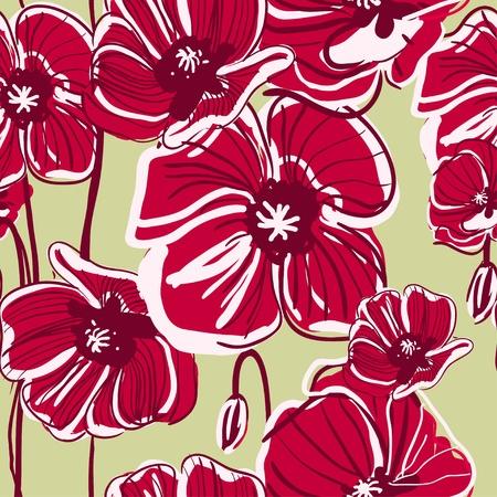 canvas print: Fondo de vectores abstracto rojo con flores de dibujo