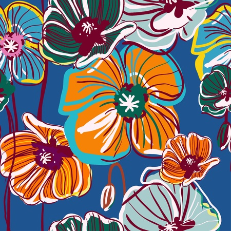 canvas print: Fondo de vectores abstracto azul con amapola brillante de dibujo