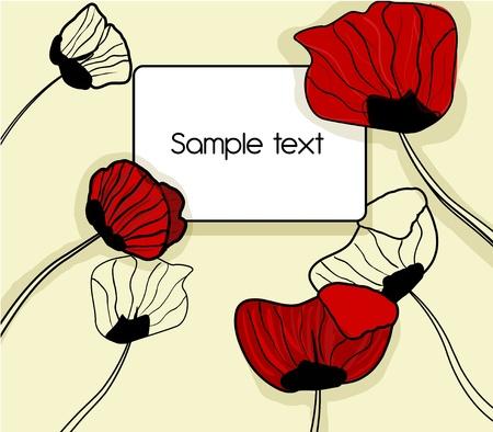 poppy field: Abstracto fondo marr�n con un dibujo rojo popies