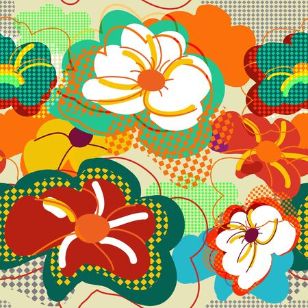 multicolor: Abstract seamless vector pattern with bright flowers Illustration