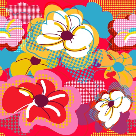 canvas print: Abstract seamless vector bright pattern with flowers