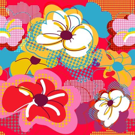 canvas print: Patr�n brillante Abstract vector transparente con flores