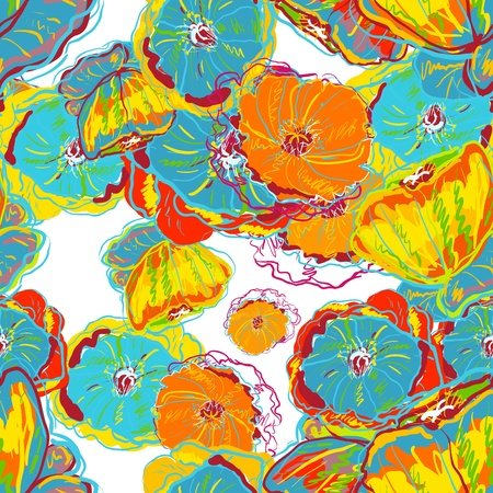 Abstract seamless texture with bright flowers Vector