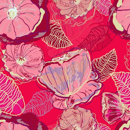 wealth abstract: Abstract red vector  background with drawing flowers Illustration