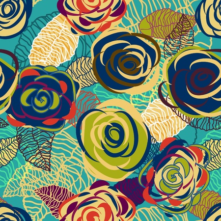 tiling background: Abstract seamless vector texture with bright flowers Illustration