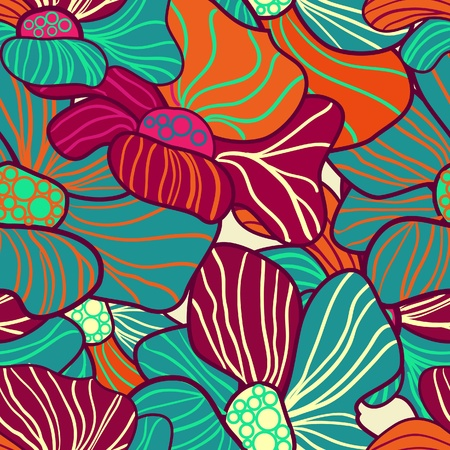 Abstract seamless vector pattern with bright flowers Illustration